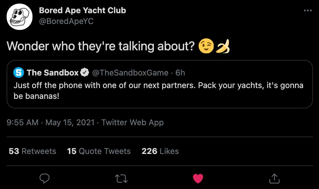 Bored Ape Yacht Club and The Sandbox