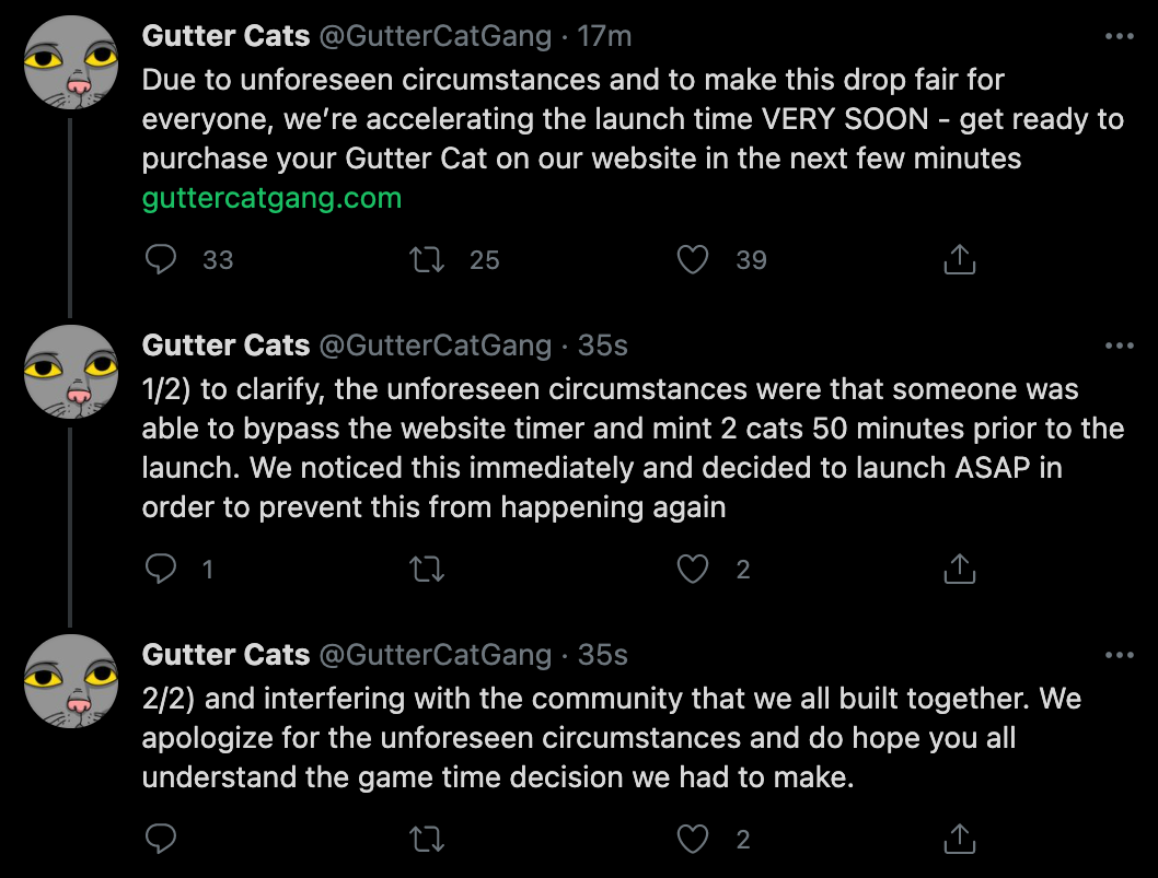 Gutter Cats Launched Early