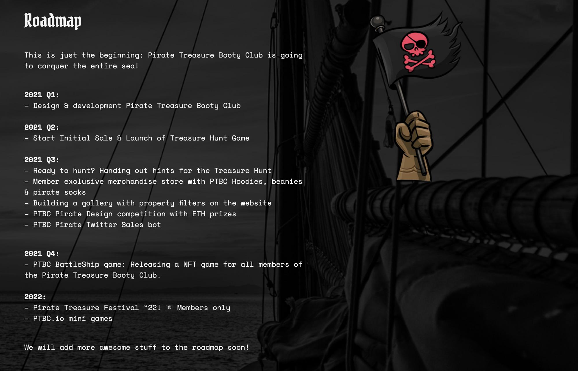 Pirate Treasure Booty Club Roadmap