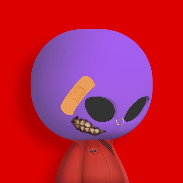 Alien Boy NFT purple with red background