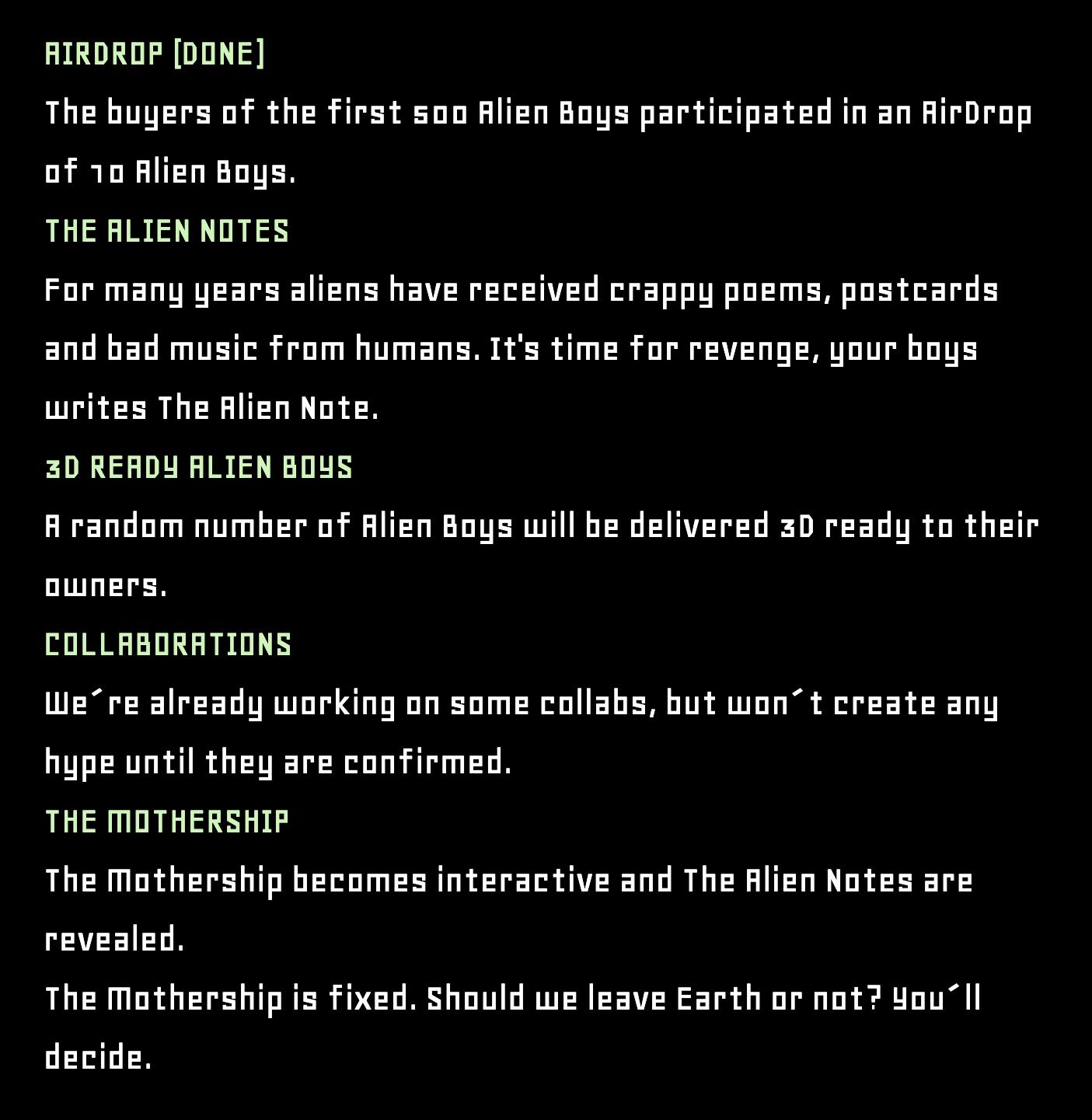 The Alien Boy NFT Roadmap